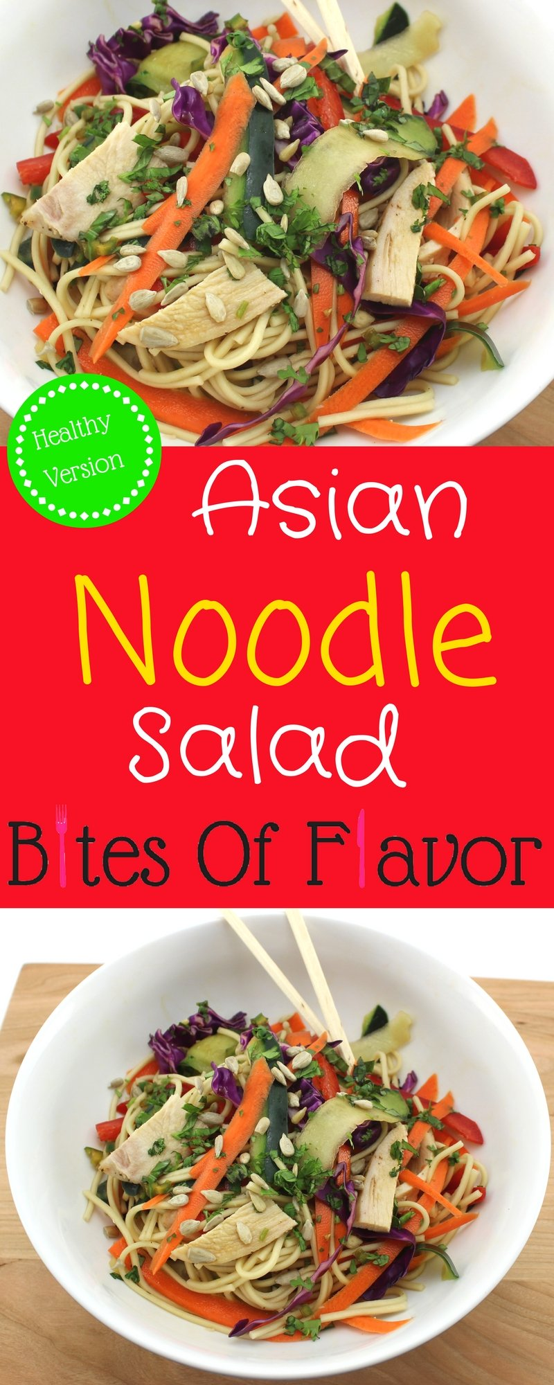 Asian Noodle Salad is easy to make and the perfect meal prep lunch for a busy week. Fresh ingredients with a sweet and spicy salad dressing. Weight Watchers friendly recipe. www.bitesofflavor.com