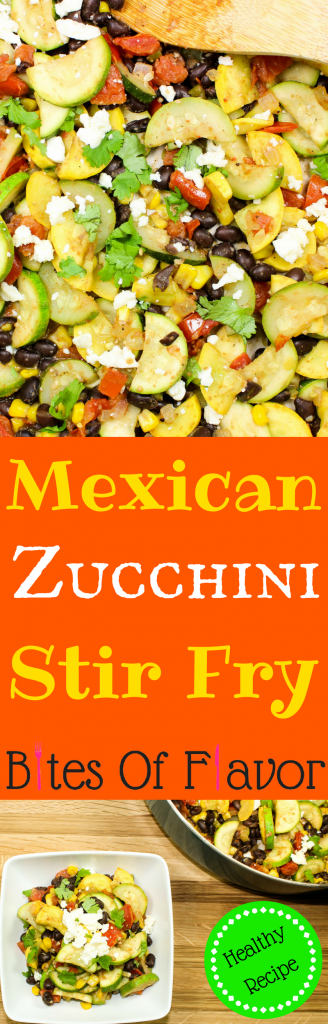 Mexican Zucchini Stir Fry is full of veggies & black beans. Great as side dish or tacos. Weight Watchers friendly recipe! www.bitesofflavor.com
