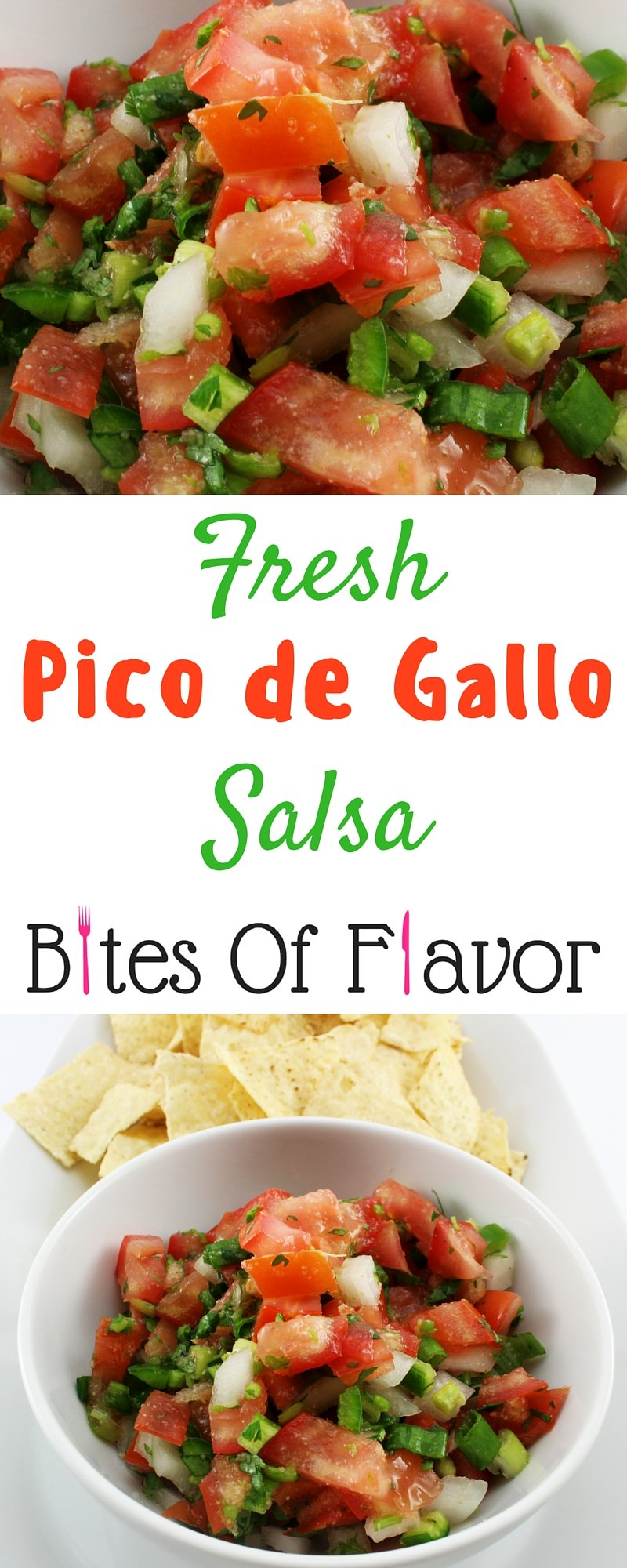 Fresh pico de gallo salsa recipe that is easy to make, delicious, and a crowd pleasure! This salsa is perfect for fajitas, tacos, and eggs. Weight Watchers friendly recipe! www.bitesofflavor.com
