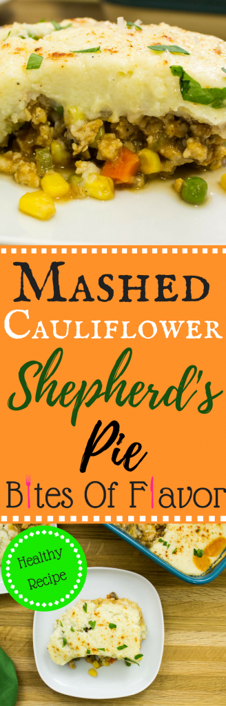 Mashed Cauliflower Shepherd's Pie- All the traditional flavors of the traditional recipe without the guilt! Savory, spiced meat & veggies topped with creamy mashed cauliflower. Weight Watchers friendly recipe. www.bitesofflavor.com