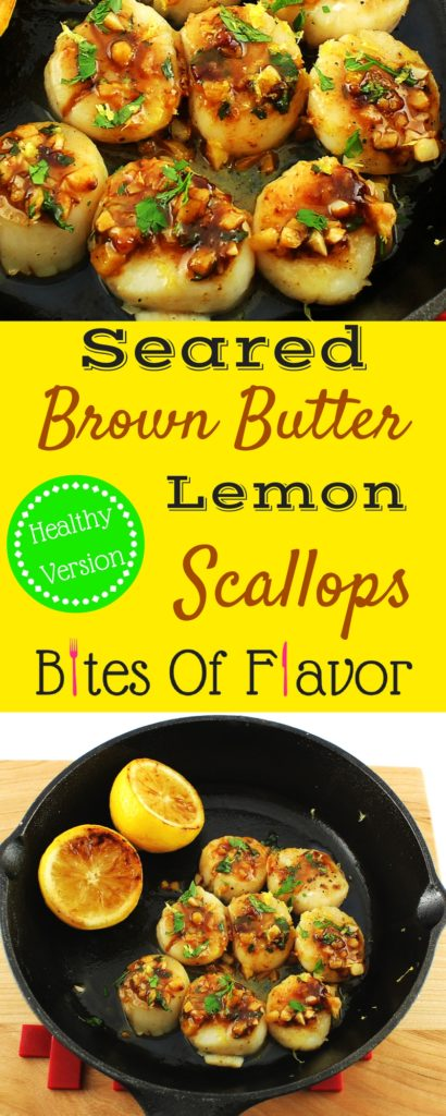 Seared Brown Butter Lemon Scallops- Healthy scallop recipe that is decadent and easy to make. Great date night meal at home! Weight Watchers friendly recipe. www.bitesofflavor.com