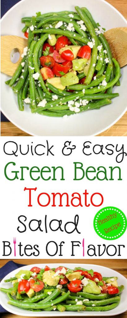 Quick & Easy Green Bean Tomato Salad is the perfect side dish for a busy week night!  Quick to make, low calories, refreshing, and full of flavor!  Weight Watchers friendly recipe.  www.bitesofflavor.com