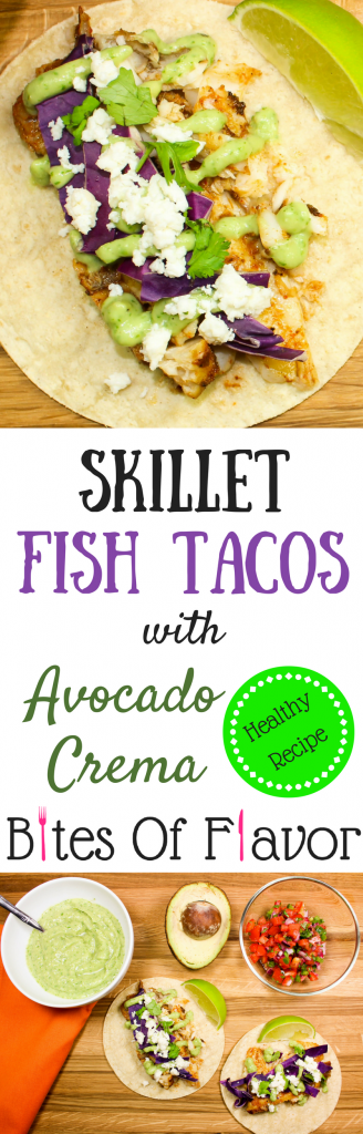 "Skillet Fish Tacos with Avocado Crema are perfect for ""taco Tuesday"" or really any day of the week! Quick to make, flavorful with every bite, and healthy! Weight Watcher friendly (10 SmartPoints for 2 tacos)."