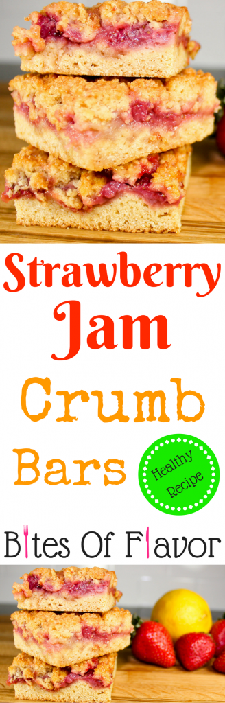 Strawberry Jam Crumb Bars are low-fat and full of flavor! Layers of dough, fresh strawberry jam topped with a crunchy crumb layer. Perfect for breakfast or dessert! Weight Watcher friendly (6 SmartPoints).