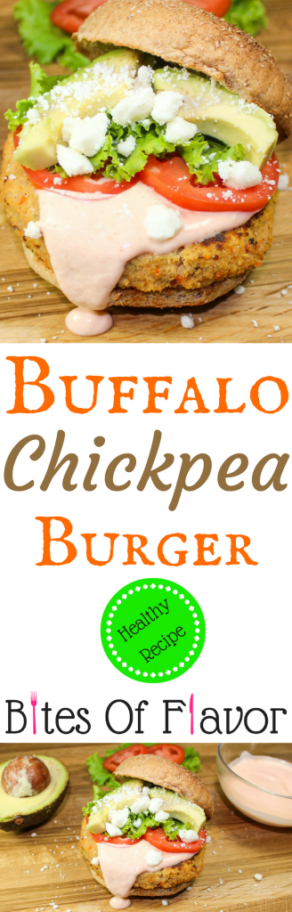 Buffalo Chickpea Burgers are full of all the buffalo taste you love. Low-fat and flavorful. Guaranteed to impress any burger lover! PERFECT for your next football party! Weight Watchers friendly recipe. www.bitesofflavor.com