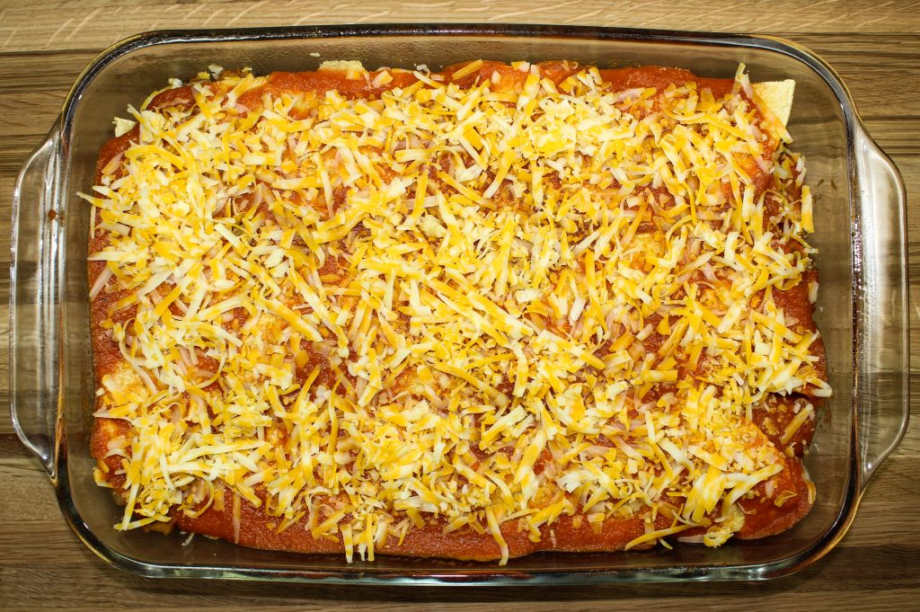 Layers of Cheesy Vegetable Enchilada Casserole