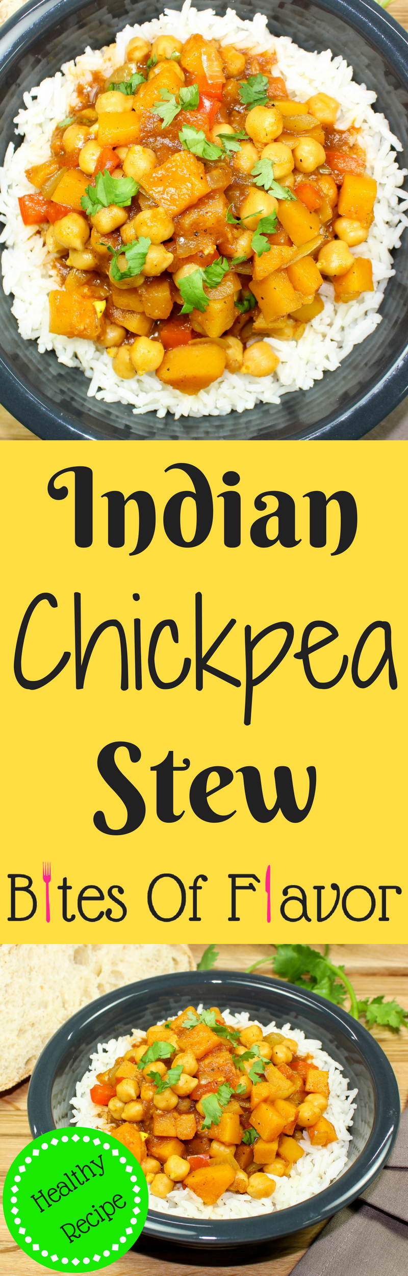 Indian Chickpea Stew is a unique twist on vegetable stew! Delicious Indian spices mixed with hearty vegetables is comfort in a bowl. Great for anyone who is a beginner to Indian food! Spices are sweet with just a hint of spice. Weight Watchers friendly recipe! www.bitesofflavor.com