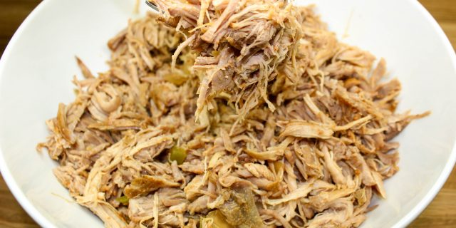 Slow Cooker Mexican Spiced Pulled Pork is perfect for pork inspired recipes like tacos, stews, enchiladas, pizza, and more! This recipe is healthy, easy to make, and full of Mexican flavor. Half a cup is 5 SmartPoints.