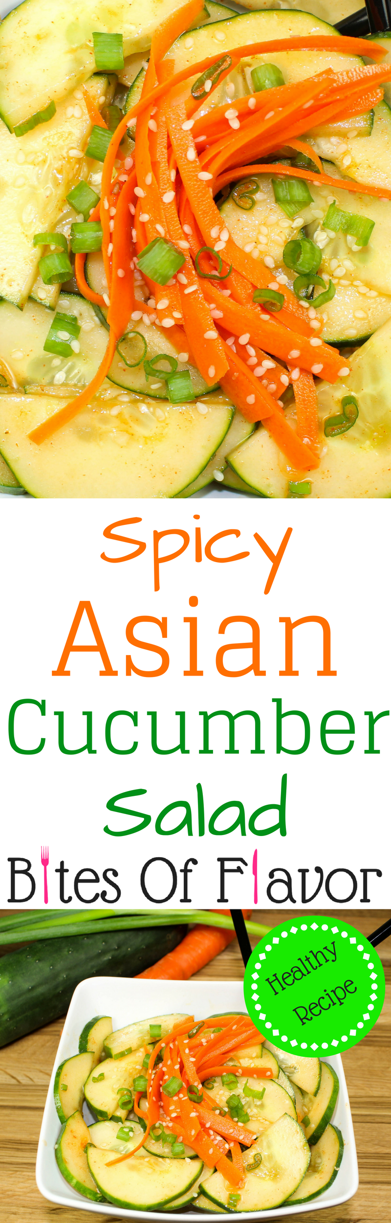 Spicy Asian Cucumber Salad is a great side dish or appetizer for any Asian inspired meal. Crisp cucumbers and carrots tossed in a spicy & sweet dressing. Low fat and low calorie. Weight Watchers friendly recipe! www.bitesofflavor.com
