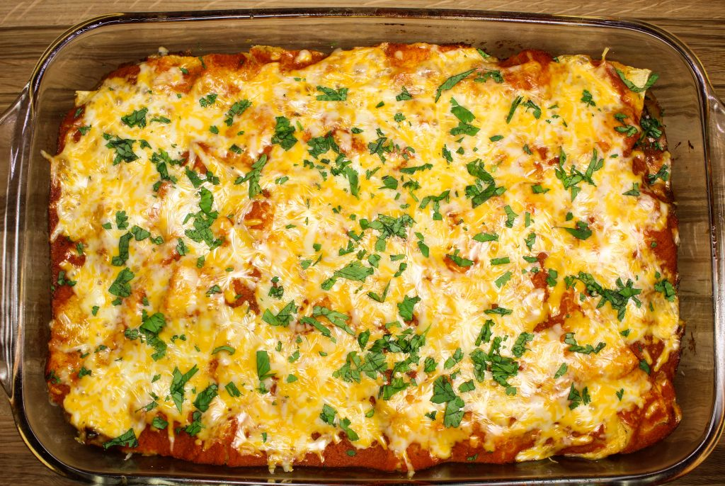 Baked Cheesy Vegetable Enchilada Casserole.