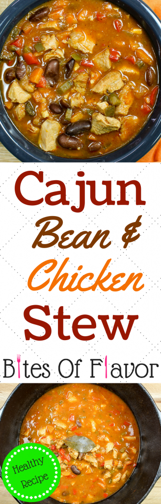 Cajun Bean & Chicken Stew- Cajun comfort in a bowl. Delicious chicken breast, red kidney beans, and Cajun spices served over rice make for the perfect combination of flavors. Hearty, just the right heat, & healthy! Weight Watcher friendly recipe.