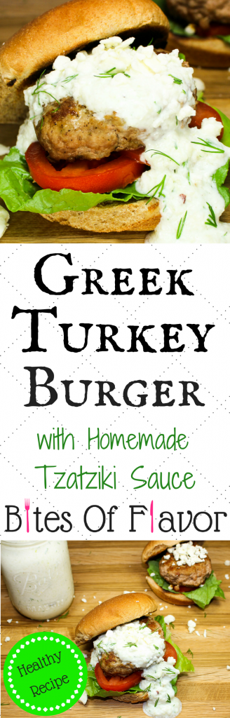 Greek Turkey Burgers are perfect for burger night at home. Quick to make, packed with spices, and healthy. Top with homemade tzatziki sauce and feta cheese for a delicious Greek inspired burger! Weight Watchers friendly recipe! www.bitesofflavor.com.