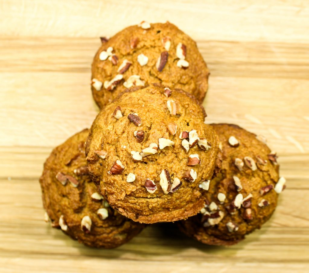 Pumpkin Pecan Muffins-Packed with festive fall flavors. Delicious, light, crunchy on top, & easy to make. Great for grab & go breakfast. Low fat & Weight Watcher friendly (6 SmartPoints).