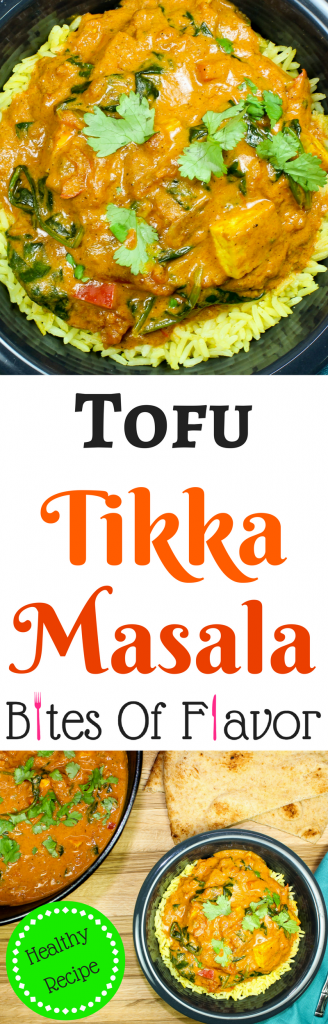 Tofu Tikka Masala-Creamy tomato sauce with Indian spices, mixed with crispy tofu and spinach is Indian comfort food in a bowl. Decadent flavors and healthy. Perfect for meatless Monday! Weight Watcher friendly recipe. www.bitesofflavor.com