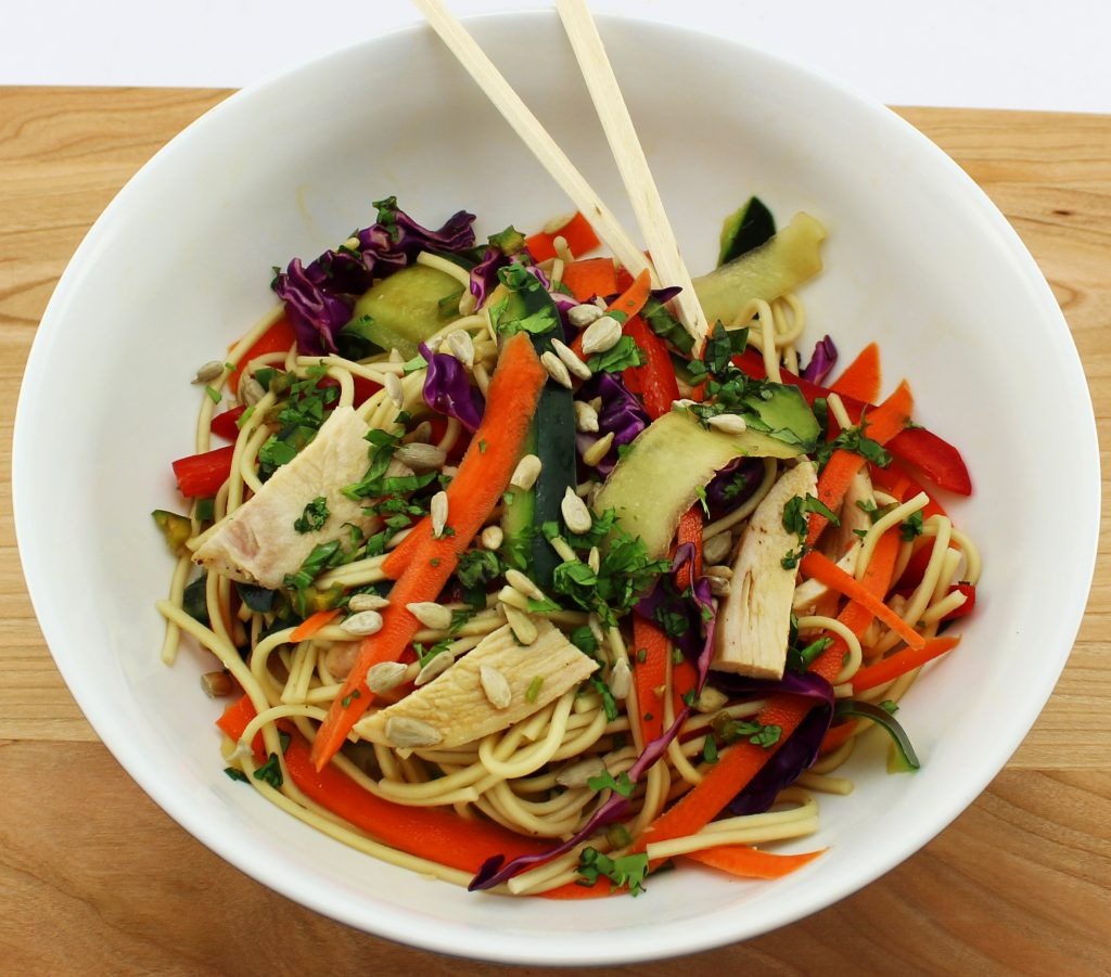 Weight Watcher friendly Asian Noodle Salad that is easy to make with fresh ingredients! Perfect for a grab on the go meal. Weight Watchers friendly recipe. www.bitesofflavor.com