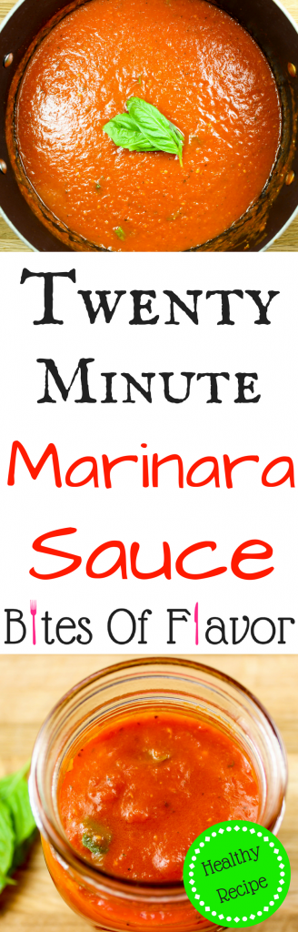 Twenty Minute Marinara Sauce is the perfect sauce for any Italian inspired dish. Packed with fresh flavors and ready to eat in twenty minutes. Freezer friendly and all natural with no preservatives! Weight Watcher friendly recipe. www.bitesofflavor.com