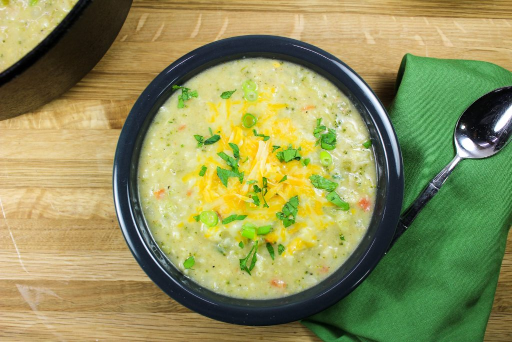 Broccoli Cauliflower Chowder is creamy soup with fresh and perfectly cooked veggies make the perfect bowl of comfort food. Freezer friendly and made in less than 1 hour! Weight Watcher friendly recipe. www.bitesofflavor.com
