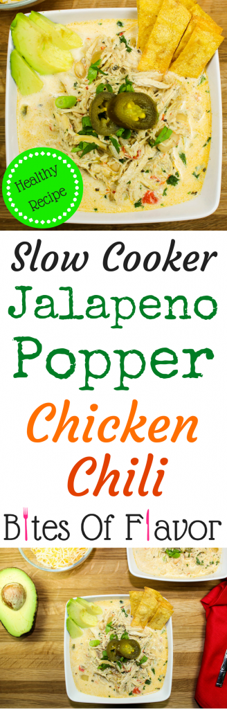 Slow Cooker Jalapeno Popper Chicken Chili-All the flavors of jalapeno popper dip without the guilt. Slow cooked chicken mixed with a creamy broth, white beans, and cream cheese. Not too spicy with just the right kick. Weight Watcher friendly recipe. www.bitesofflavor.com