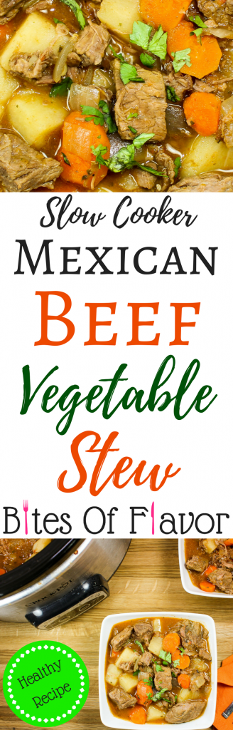 Slow Cooker Mexican Beef Vegetable Stew-Unique twist on classic beef stew. Slow cooked beef, flavorful potatoes & carrots, cooked in delicious Mexican spices are the perfect meal when you are craving comfort food. Made in the crock pot for an easy dinner! Weight Watcher friendly recipe.