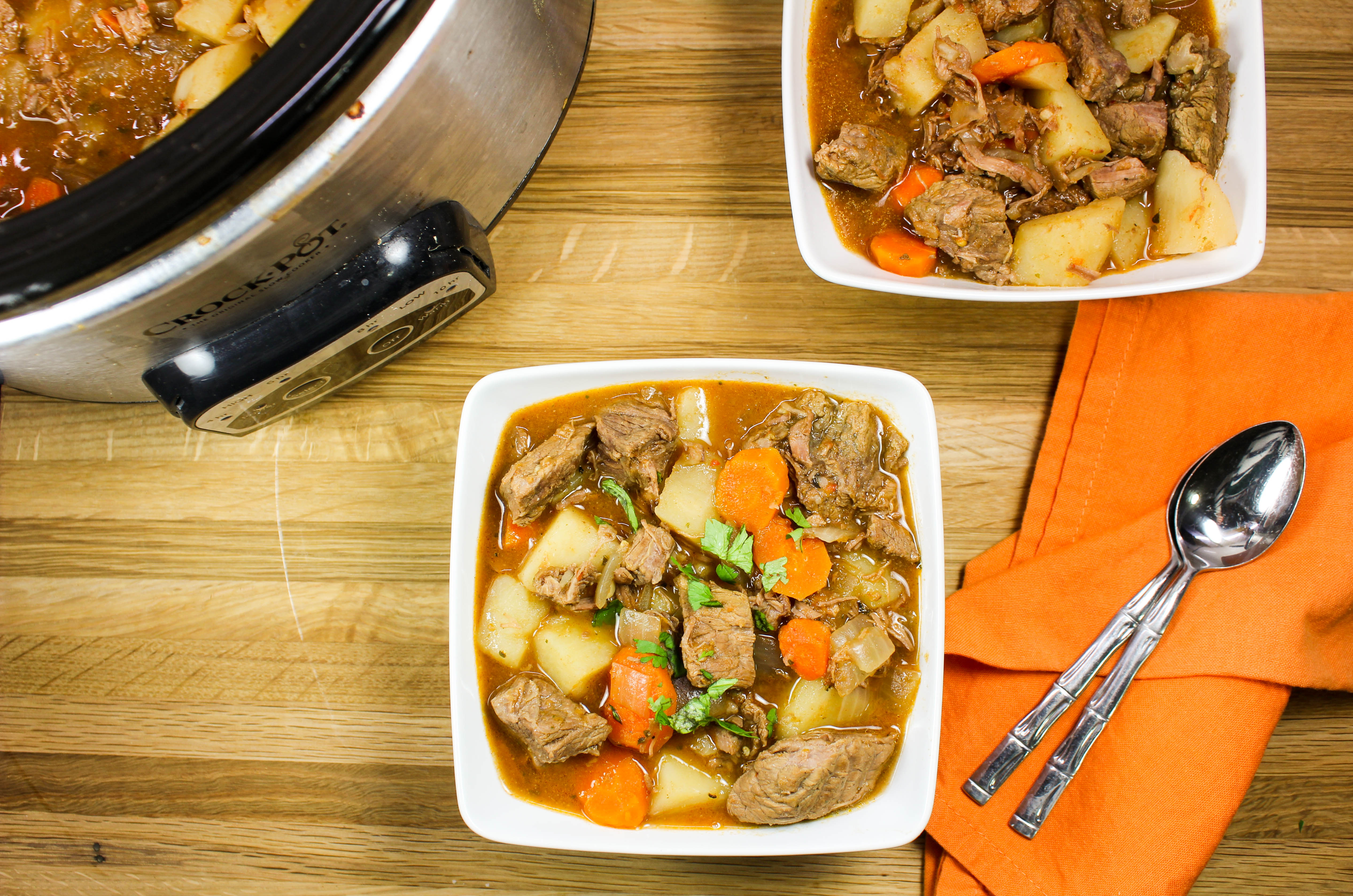 Slow Cooker Mexican Beef Vegetable Stew-Unique twist on classic beef stew. Slow cooked beef, flavorful potatoes & carrots, cooked in delicious Mexican spices are the perfect meal when you are craving comfort food. Made in the crock pot for an easy dinner! Weight Watcher friendly (7 SmartPoints).