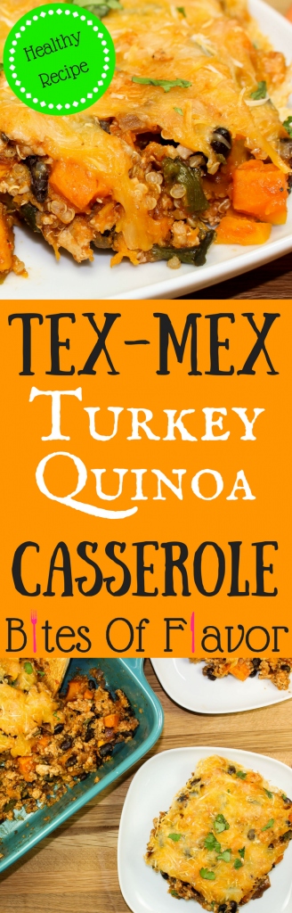 Tex-Mex Turkey Quinoa Casserole is delicious, hearty, and packed with Tex-Mex flavors. Ground turkey, roasted peppers, beans, squash, quinoa, and Tex-Mex spices mixed together make a scrumptious yet healthy casserole. Weight Watchers friendly recipe! www.bitesofflavor.com