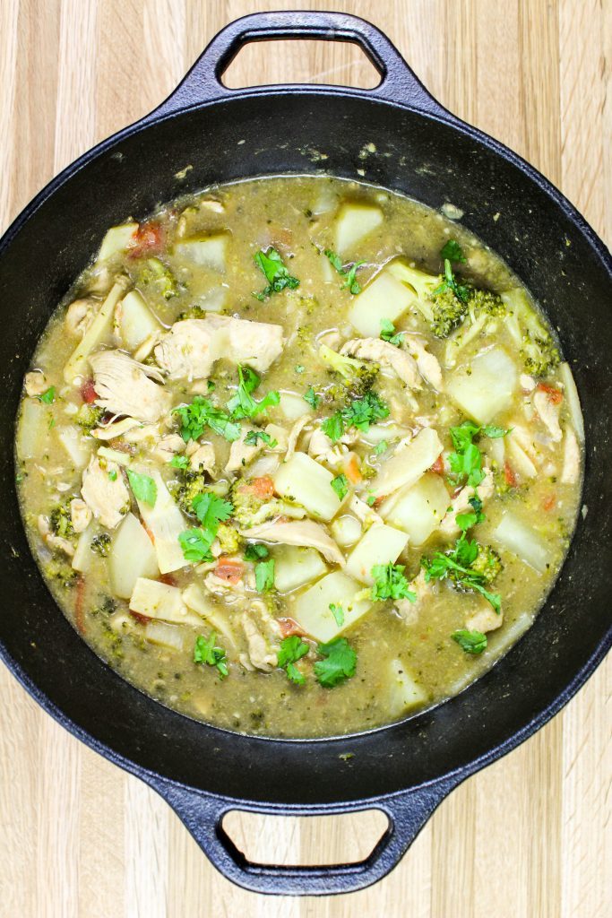 Chicken & Veggie Green Curry Soup- Delicious chicken breast with potatoes, broccoli, bamboo shoots cooked in a creamy, curry broth and served over rice. Weight Watcher friendly. www.bitesofflavor.com