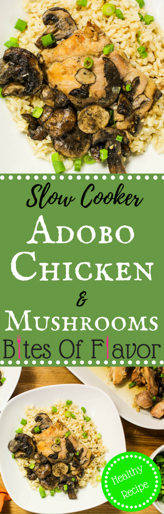 Slow Cooker Adobo Chicken and Mushrooms- Chicken thighs & mushrooms cooked low & slow in a delicious blend of Asian flavors. Weight Watchers friendly recipe. www.bitesofflavor.com