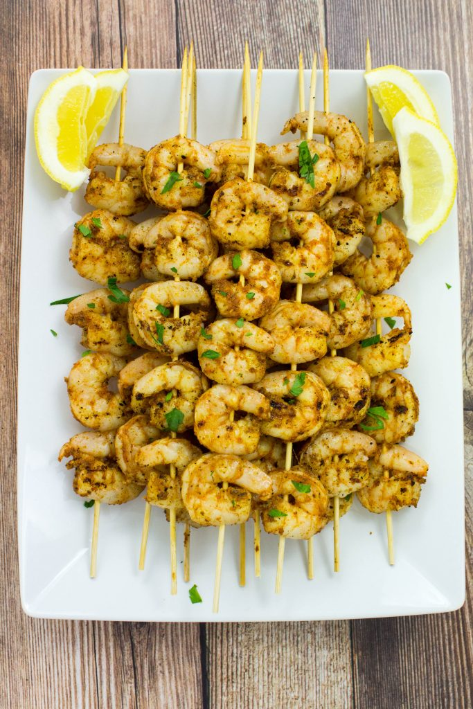 Grilled Blackened Shrimp Skewers- Delicious blackened seasoning coated over grilled shrimp is healthy & packed with bold flavors. Great easy, quick dinner! Weight Watchers friendly. www.bitesofflavor.com