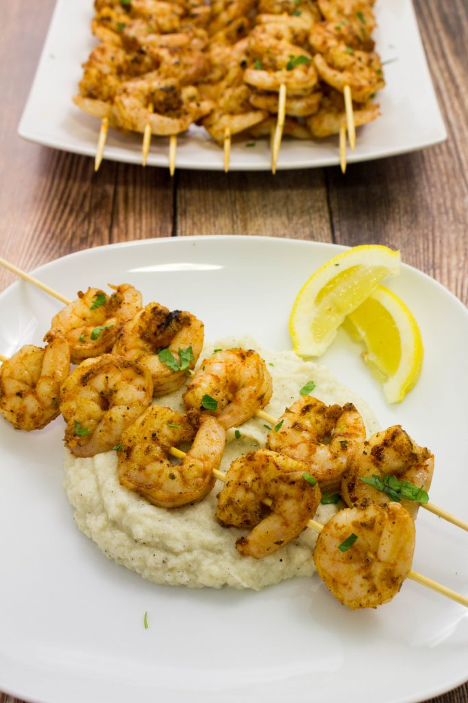 Grilled Blackened Shrimp Skewers are the perfect meal for a backyard barbeque or a quick weeknight meal. Weight Watchers friendly recipe! www.bitesofflavor.com