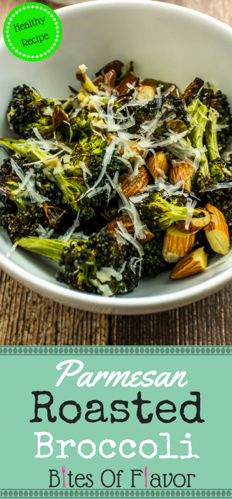 Parmesan Roasted Broccoli- Broccoli & almonds roasted to perfection with lemon juice & topped with shredded parmesan cheese is delicious with every bite! Weight Watchers friendly recipe. www.bitesofflavor.com