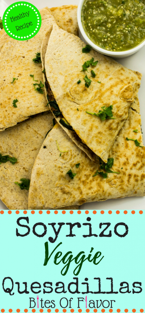 Soyrizo Veggie Quesadillas-Seasoned soy meat mixed with zucchini, spinach, with two types of cheese & stuffed inside a crispy tortilla. Weight Watchers friendly recipe. www.bitesofflavor.com