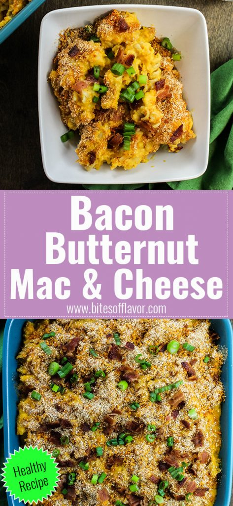 Bacon Butternut Mac & Cheese is a delicious healthy twist on mac & cheese. Squash puree mixed with cheese sauce & rotini noodles, topped with bacon & baked until bubbly. Weight Watchers friendly recipe. www.bitesofflavor.com