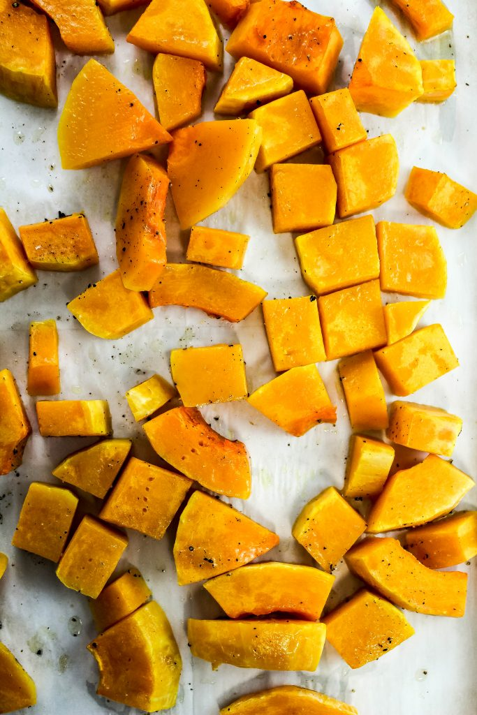 Roasted butternut squash for Bacon Butternut Mac & Cheese