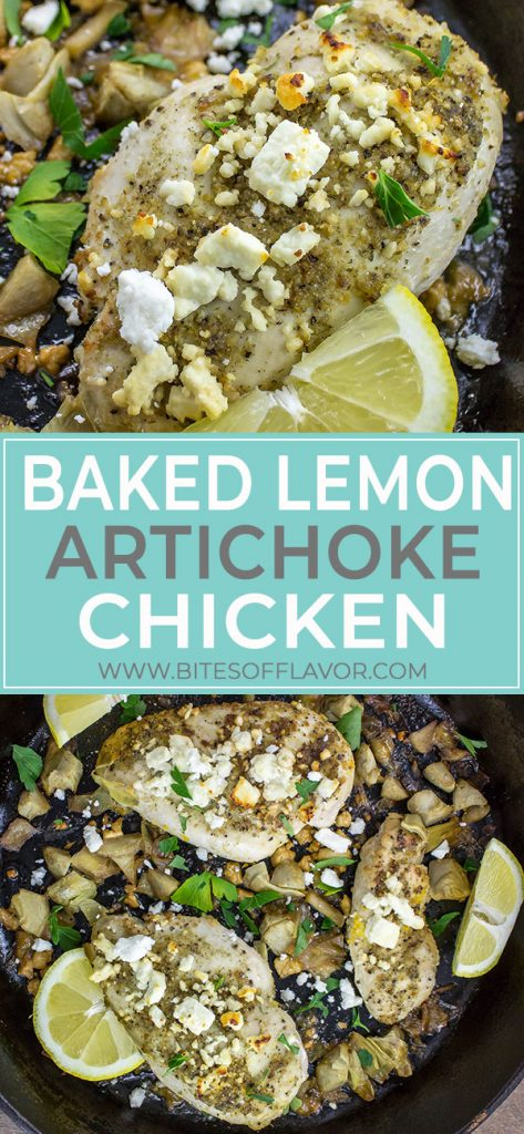 Baked Lemon Artichoke Chicken is a delicious dinner perfect for a busy weeknight. Perfectly seasoned chicken breast baked with fresh lemon juice, artichoke hearts, and topped with feta cheese in under 30 minutes! Weight Watchers friendly recipe. www.bitesofflavor.com