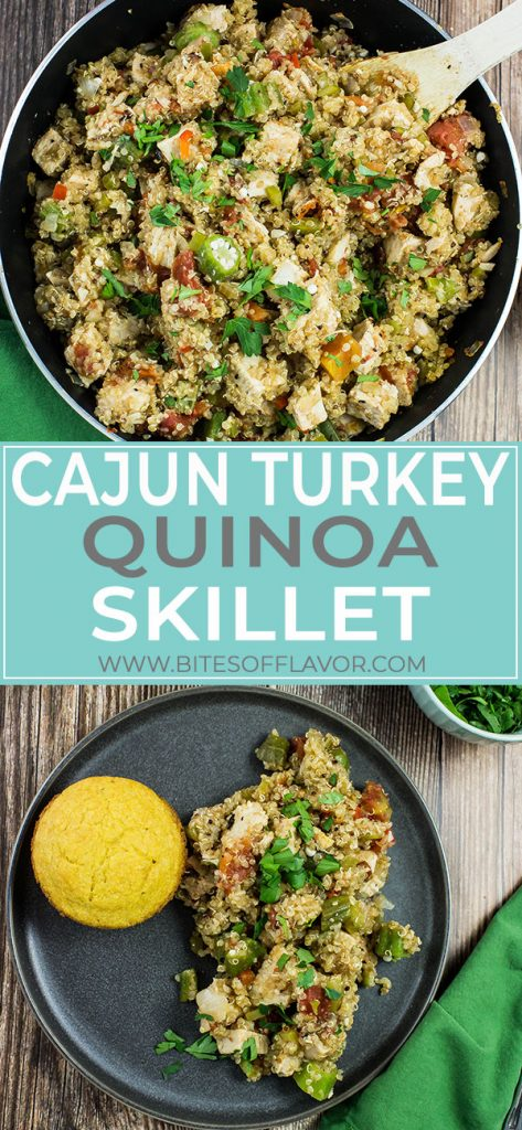 Cajun Turkey Quinoa Skillet is a blend of scrumptious Cajun flavors.  Oven roasted turkey breast, quinoa, and vegetables cooked together make for a delicious dinner!  Bold flavors that will keep you coming back for seconds!  Weight Watchers friendly recipe!  www.bitesofflavor.com