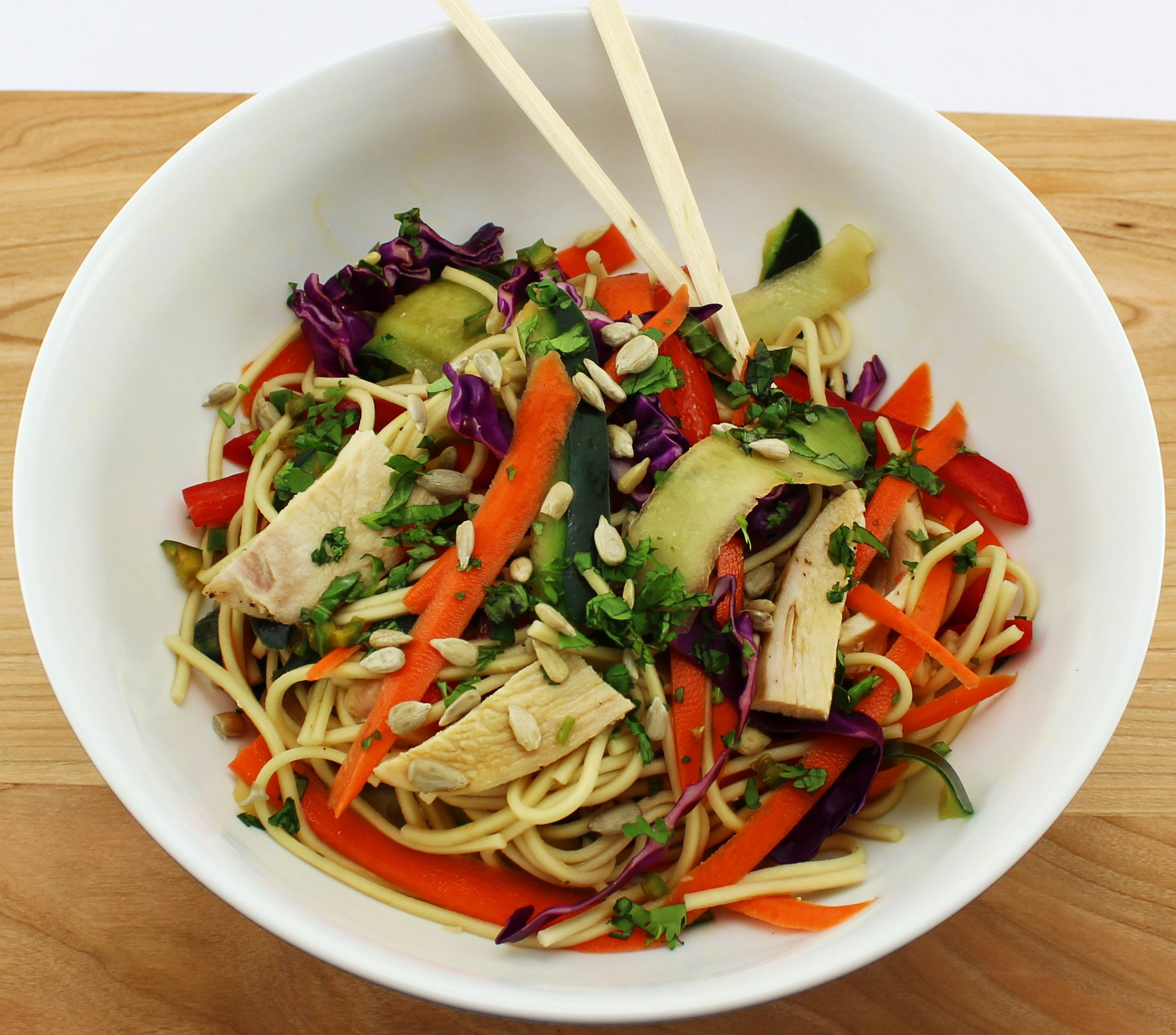 Salad with Asian noodles and vegetables.