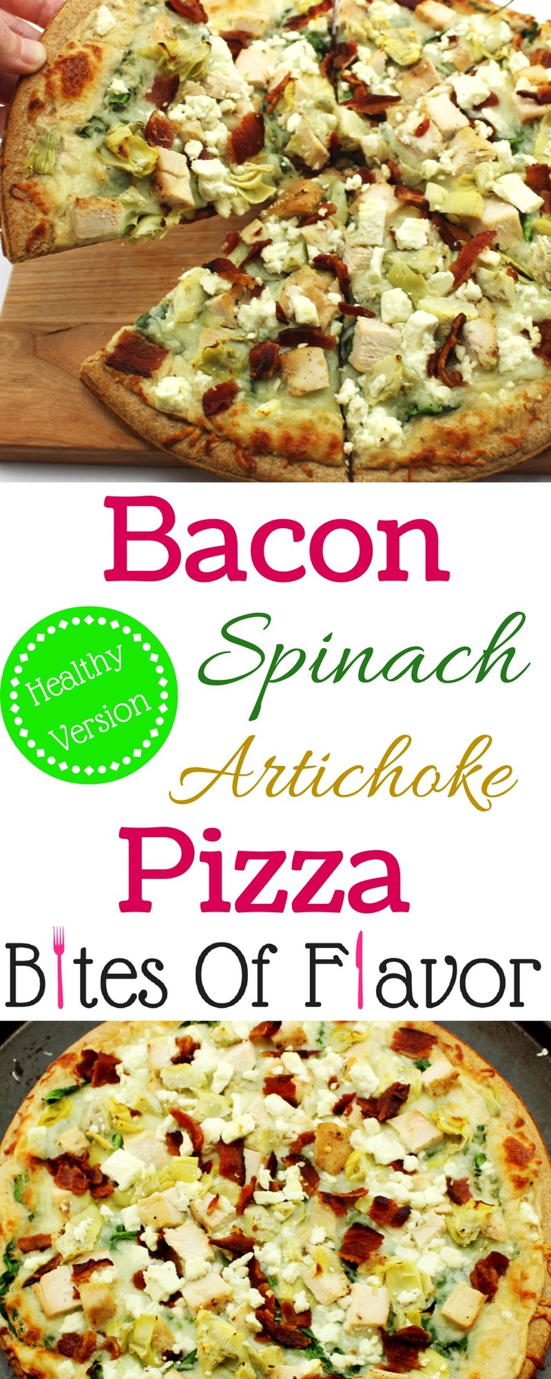 Guilt free Bacon Spinach Artichoke Pizza with homemade garlic cream sauce! Easy to make, low fat, and cooks in 12 minutes! Weight Watcher Friendly recipe. www.bitesofflavor.com