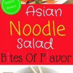 Salad with noodles, sliced vegetables, chicken, and Asian flavored salad dressing