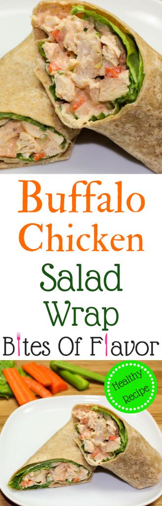 Buffalo Chicken Salad Wrap- Healthy twist on classic chicken salad! Flavorful chicken with buffalo sauce and fresh veggies. Weight Watchers friendly recipe. www.bitesofflavor.com