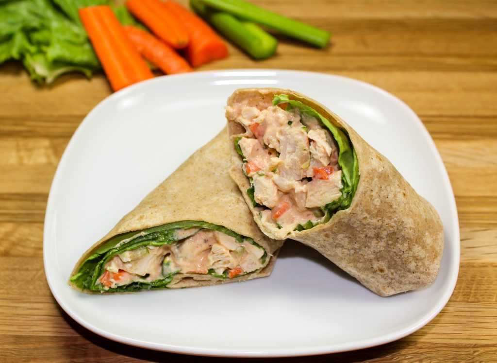 Diced chicken mixed with carrots, celery, and creamy buffalo sauce wrapped in a tortilla.