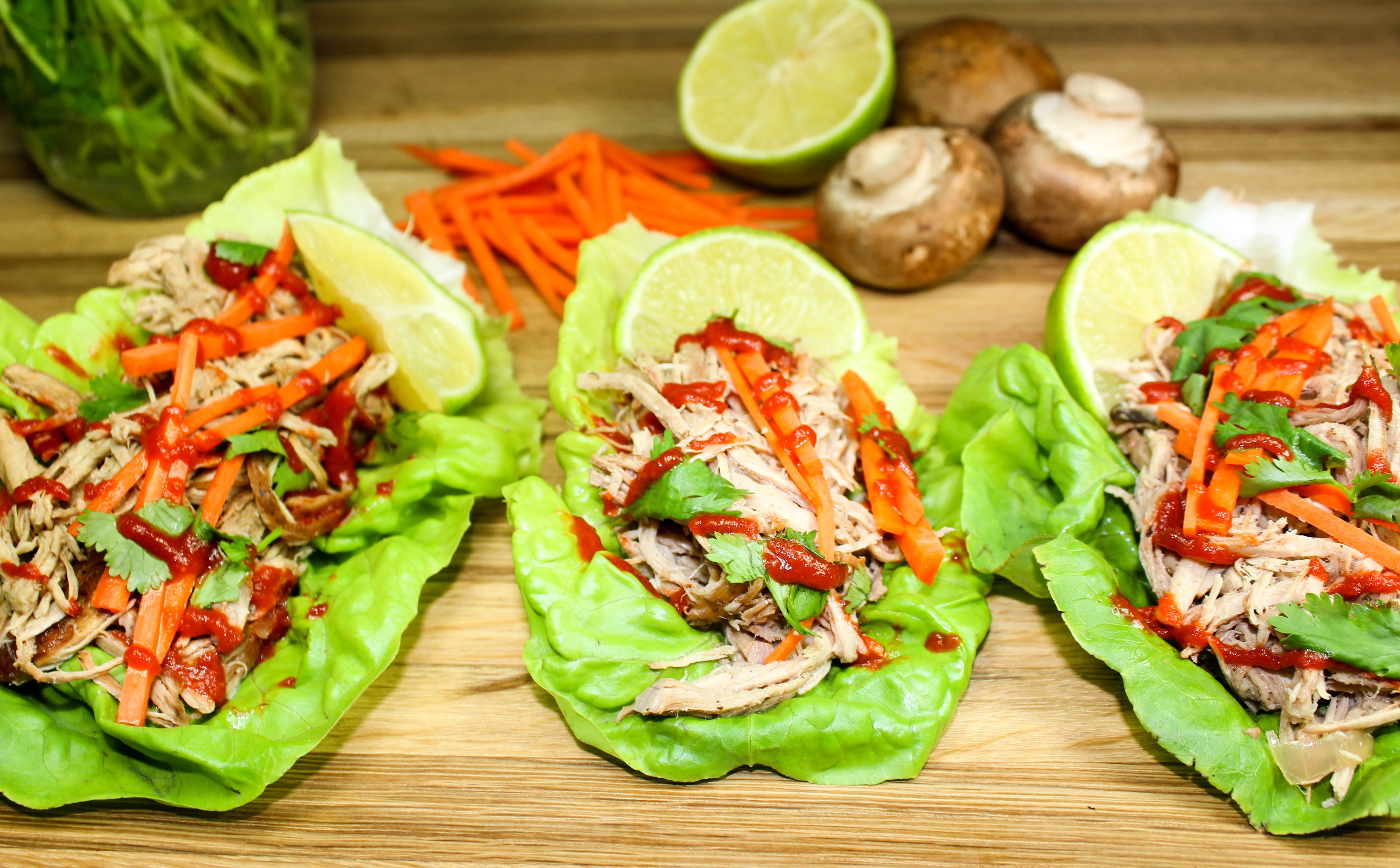 Slow Cooker Asian Pork Lettuce Wraps are the perfect meal when you want a flavorful meal, but don't want all the guilt. Low-carb and low-fat! Weight Watchers friendly recipe. www.bitesofflavor.com