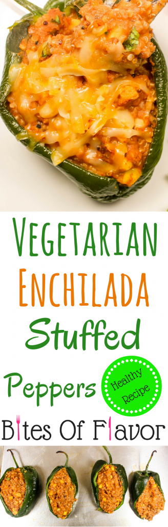Vegetarian Enchilada Stuffed Peppers are everything you love about enchiladas without the guilt! These peppers are stuffed with quinoa, beans, corn, and enchilada sauce. Low-fat and packed with tons of flavor. Weight Watcher friendly (5 SmartPoints).