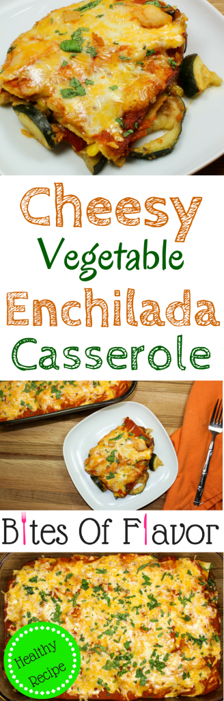 Cheesy Vegetable Enchilada Casserole is everything you love about enchiladas. Layers of enchilada sauce, delicious seasoned vegetables, and tortillas topped with cheese. Great to feed a crowd and makes for amazing leftovers! Weight Watchers friendly recipe! www.bitesofflavor.com.
