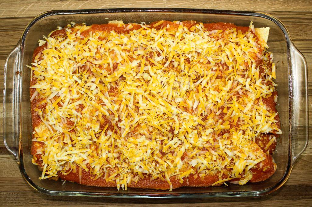 Layers of Cheesy Vegetable Enchilada Casserole