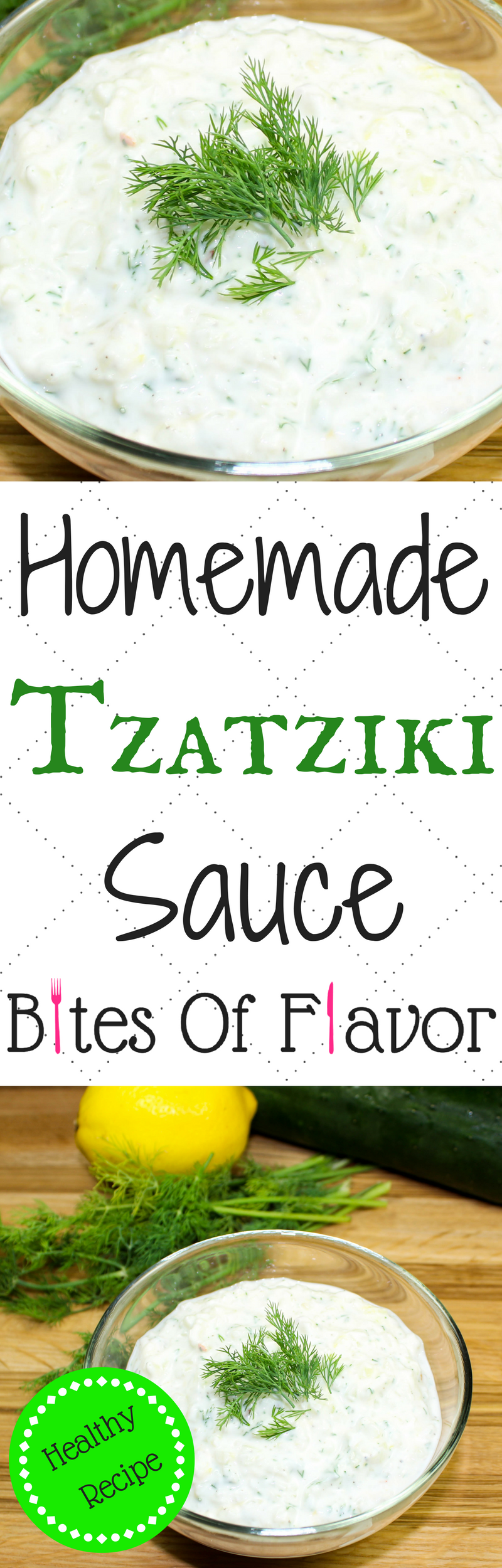 Homemade Tzatziki Sauce-Perfect addition to any Greek inspired meal! Low fat and low carb packed with bold flavors. Great as a dip or with meat! Weight Watchers friendly recipe! www.bitesofflavor.com