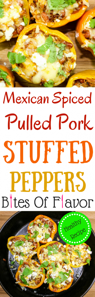 Flavorful Mexican Spiced Pulled Pork Stuffed Peppers with beans and cheese. Perfect for a quick weeknight meal! Weight Watcher friendly recipe! www.bitesofflavor.com