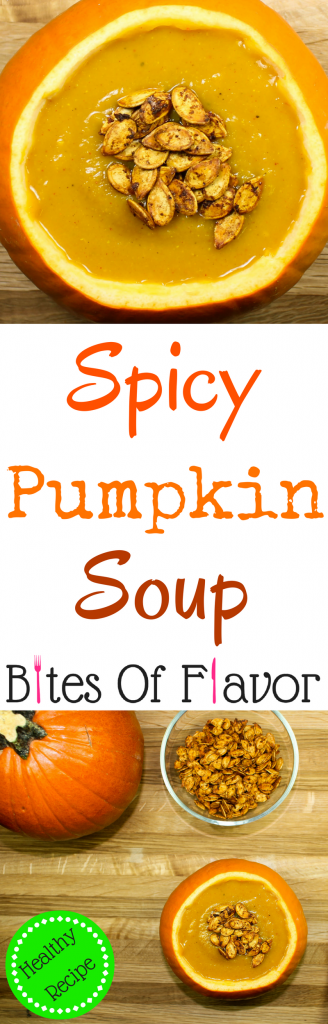 Spicy Pumpkin Soup-Perfect blend of sweet and savory. Creamy pumpkin blended with spices & topped with roasted pumpkin seeds. Healthy, quick to make, & freezer friendly. Weight Watcher friendly recipe!
