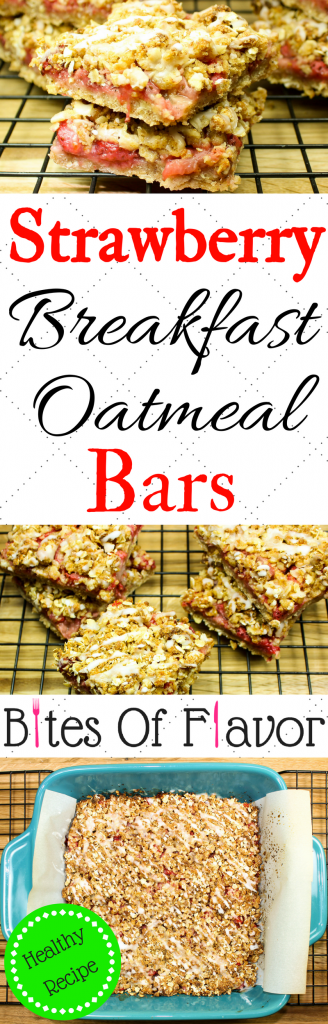 Strawberry Breakfast Oatmeal Bars -Perfect for a grab & go breakfast. Layers of delicious cinnamon spiced oatmeal & fresh strawberries baked & topped with frosting. Kid friendly, packed with tons of flavor, & healthy! Weight Watcher friendly recipe.