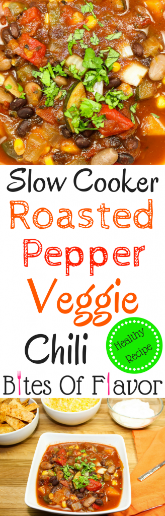 Slow Cooker Roasted Pepper Veggie Chili-Packed with hearty vegetables, roasted peppers, & beans. Seasoned to perfection with just the right heat that any chili needs. Freezer & kid friendly! Weight Watcher friendly recipe.