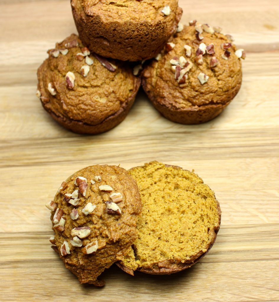 Pumpkin Pecan Muffins are delicious, light, crunchy on top, and easy to make.  Great for grab and go breakfast.  Low fat and Weight Watchers friendly recipe!  www.bitesofflavor.com